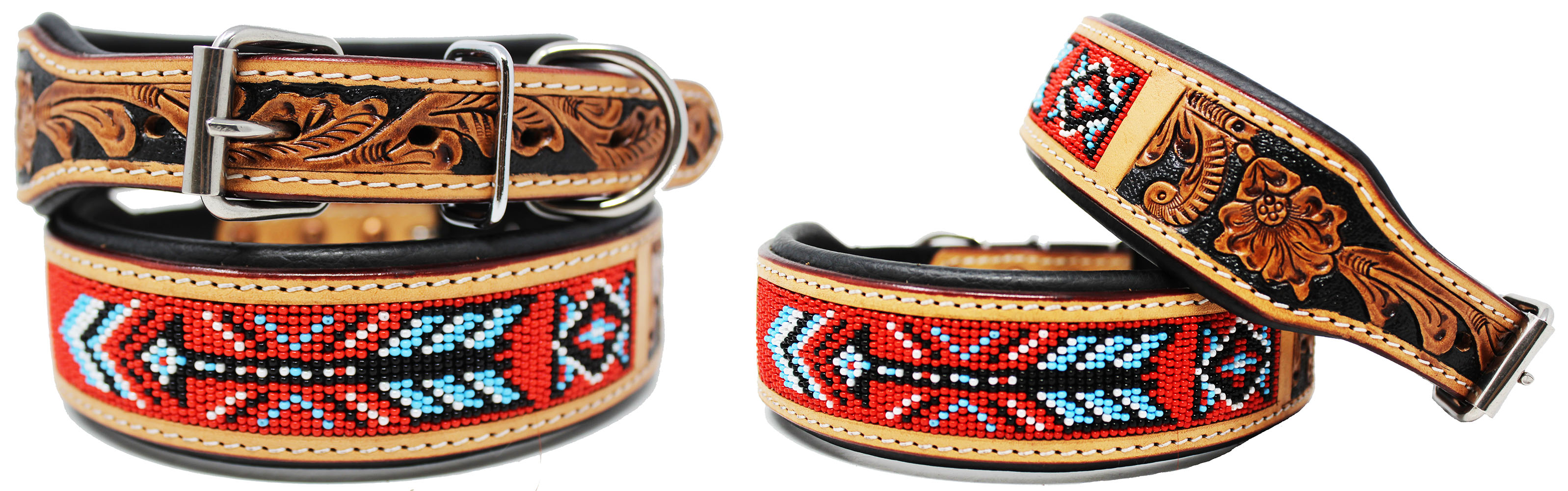 Hand Tooled Beaded Padded Leather Dog Collar  60123